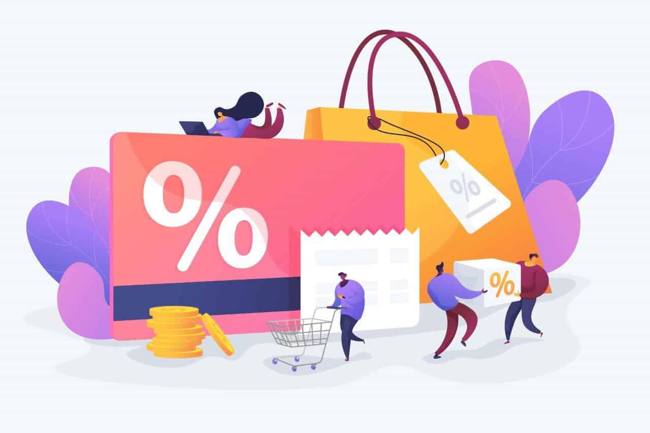 List of amazing discounts, people holding them and going through.
