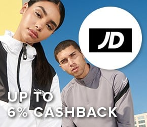 Up to 6% cashback with JD - An extensive range of trainers, footwear, clothing.